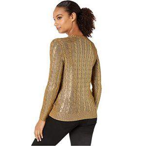Ralph LAUREN Metallic Foiled Cable Maui Sweater